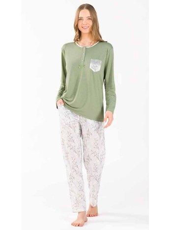 Uzun Kollu Patlı Pijama Takım Yeni İnci BPJ1756