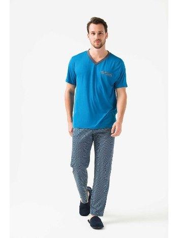 V yaka 3lü Şortlu Pijama Takımı Yeni İnci EPJ760