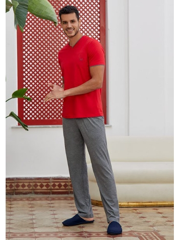 V Yaka Kısa Kol Pijama Takım Eros ESE28125
