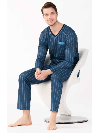 V Yaka Uzun Kollu Pijama Takımı Yeni İnci EPJ782