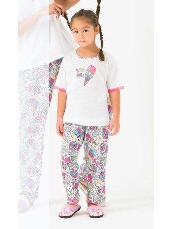 Viskon Kısa Kollu Kız Çocuk Pijama Takımı Yeni İnci CKP346