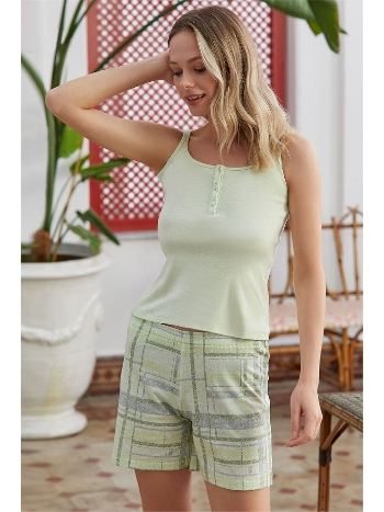 Yeşil İp Askılı Şortlu Pijama Takımı Eros ESK28650
