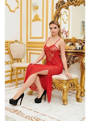 Yırtmaçlı Dantelli Kırmızı Uzun Fantazi Gecelik Real Passione 4602